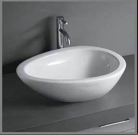 Elegant æggeformet porcelænshåndvask til montering på bord