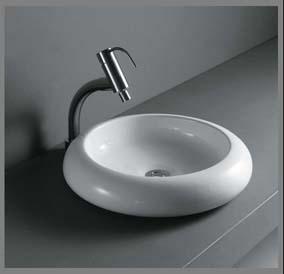 Rund porcelænshåndvask til montering på bord