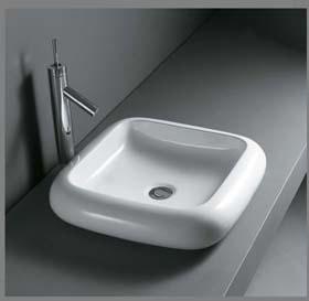 Kvadratisk porcelænshåndvask til montering på bord