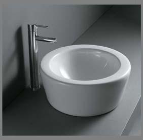 Hvid porcelænshåndvask til montering på bord