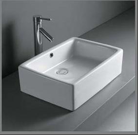 Rektangulær porcelænshåndvask til montering på bord
