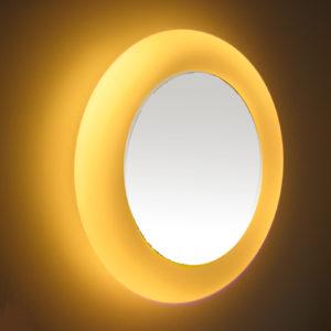 Rund spejl med indbyggede lys